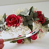 Украшения ручной работы. Ярмарка Мастеров - ручная работа Диадема с алыми розами. Handmade.