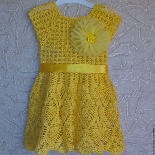 """Одежда для девочек, ручной работы. Ярмарка Мастеров - ручная работа. Купить платье """"желточек"""". Handmade. Комбинированный, платье для девочки, ананас"""