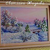 Картины и панно ручной работы. Ярмарка Мастеров - ручная работа картина лентами Зима. Handmade.