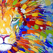 Картины и панно handmade. Livemaster - original item The picture lion Multicolor oil on canvas. Handmade.