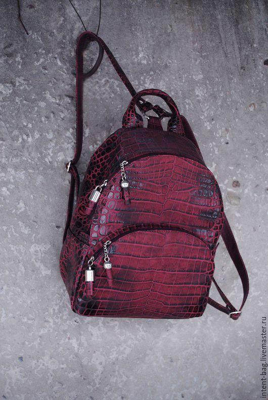 Рюкзаки ручной работы. Ярмарка Мастеров - ручная работа. Купить С017( CROC). Handmade. Бордовый, сумка ручной работы, крокодил