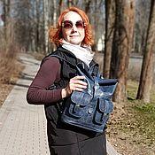 Сумки и аксессуары handmade. Livemaster - original item Backpack female leather blue Verdes Mod R32-661. Handmade.
