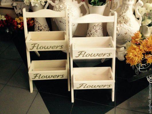 Мебель ручной работы. Ярмарка Мастеров - ручная работа. Купить Этажерка под цветы. Handmade. Бежевый, Полочки, консоль