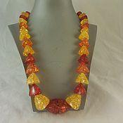 Винтаж ручной работы. Ярмарка Мастеров - ручная работа Массивное винтажное ожерелье под янтарь. Handmade.