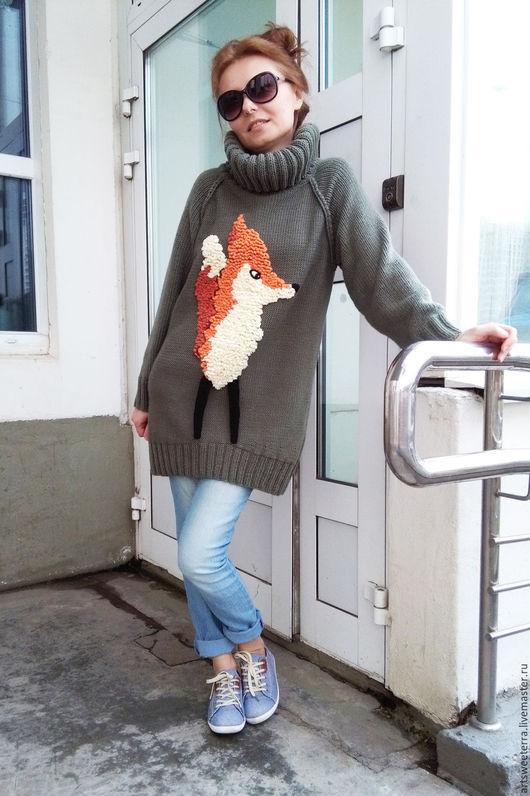 Кофты и свитера ручной работы. Ярмарка Мастеров - ручная работа. Купить Свитер с лисой. Handmade. Лиса, болотный цвет