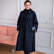 Одежда handmade. Livemaster - original item Light coat made of Italian wool blue herringbone oversize. Handmade.
