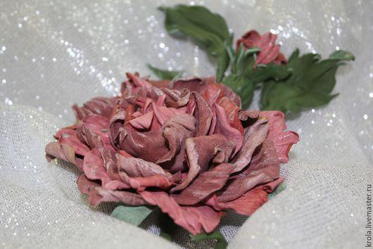 """Броши ручной работы. Ярмарка Мастеров - ручная работа. Купить Брошь из кожи """"Оттенки розового"""". Handmade. Кремовый, цветы из кожи"""