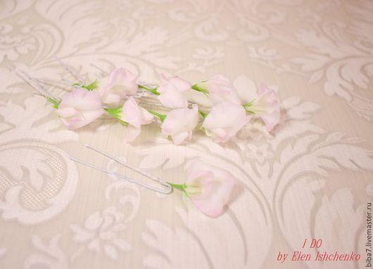 Свадебные украшения ручной работы. Ярмарка Мастеров - ручная работа. Купить Шпильки цветы из полимерной глины керамическая флористика. Handmade.