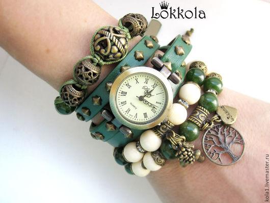 Браслеты ручной работы. Ярмарка Мастеров - ручная работа. Купить Зеленые часы (2). Handmade. Тёмно-зелёный, браслет