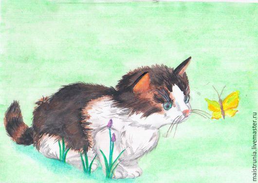 Животные ручной работы. Ярмарка Мастеров - ручная работа. Купить Чудо. Handmade. Салатовый, весна, бабочка, открытка, кот, желтый