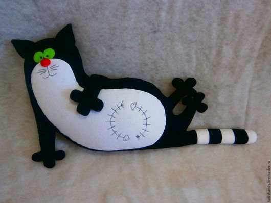 Игрушки животные, ручной работы. Ярмарка Мастеров - ручная работа. Купить Подушка игрушка Сытый кот. Handmade. Черный