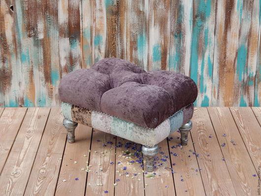 Мебель ручной работы. Ярмарка Мастеров - ручная работа. Купить пуф №3. Handmade. Фиолетовый, мебель пэчворк, буковая мебель