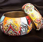 Субкультуры handmade. Livemaster - original item Bracelet, wooden with painting in the style of ETRO. Handmade.