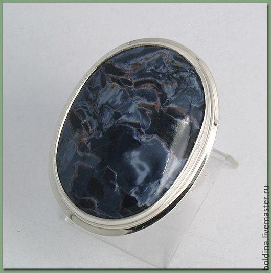 Кольца ручной работы. Ярмарка Мастеров - ручная работа. Купить Кольцо серебряное с петерситом 2. Handmade. Тёмно-синий