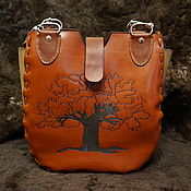 Classic Bag handmade. Livemaster - original item Leather Bag with Pyrography Tree,Handmade,Leather Tote,Totes,handmade. Handmade.