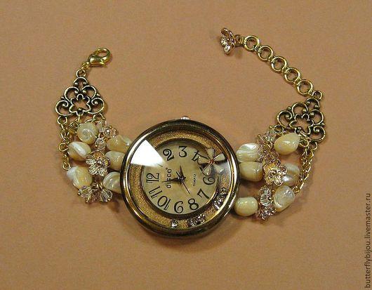 """Часы ручной работы. Ярмарка Мастеров - ручная работа. Купить Часы наручные """"Крем-брюле"""". Handmade. Бежевый, часы браслет"""