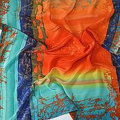 """Аксессуары ручной работы. Ярмарка Мастеров - ручная работа Шелковый платок """"Оранж"""" горячий батик. Handmade."""
