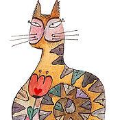 Открытки ручной работы. Ярмарка Мастеров - ручная работа открытка кот. Handmade.