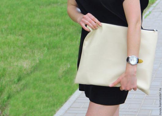 Женские сумки ручной работы. Ярмарка Мастеров - ручная работа. Купить сумка-клатч бежевая. Handmade. Бежевый, клатч