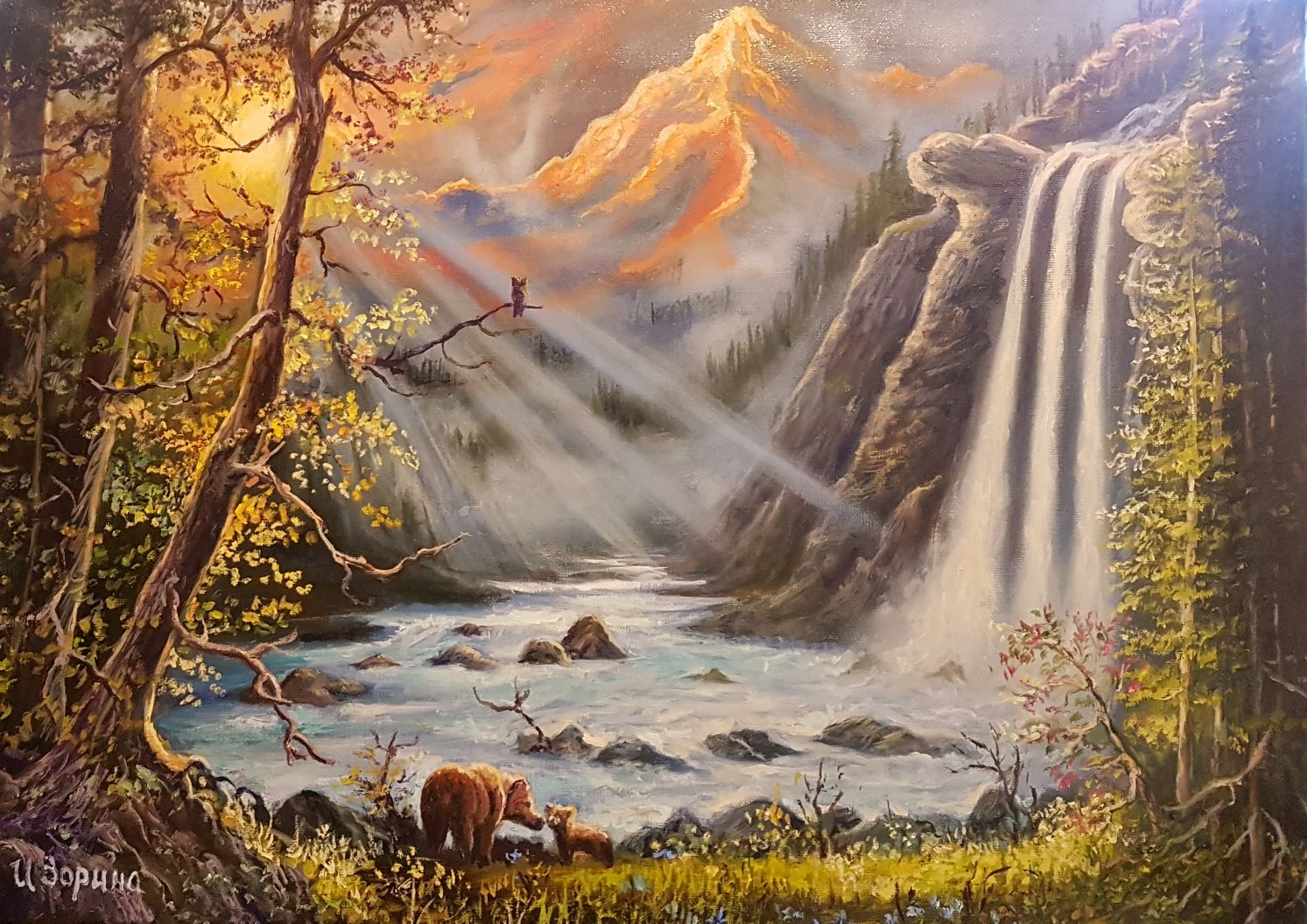 Mountain waterfall oil painting shop online on livemaster with landscapes handmade livemaster handmade buy mountain waterfall oil painting altavistaventures Images