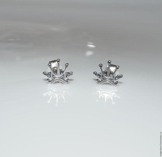 """Серьги ручной работы. Ярмарка Мастеров - ручная работа. Купить Серьги """"Корона для принцессы"""" -  серебро 925 пробы. Handmade."""