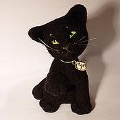 """Куклы и игрушки ручной работы. Ярмарка Мастеров - ручная работа игрушка из шерсти """"Черный кот"""". Handmade."""