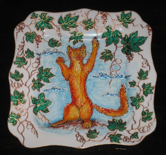 Декоративная посуда ручной работы. Ярмарка Мастеров - ручная работа. Купить Озорной кот. Handmade. Блюдо, Роспись по стеклу