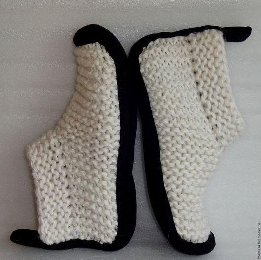 Обувь ручной работы. Ярмарка Мастеров - ручная работа. Купить Носки белые, полушерсть, р.38. Handmade. Белый, тапочки