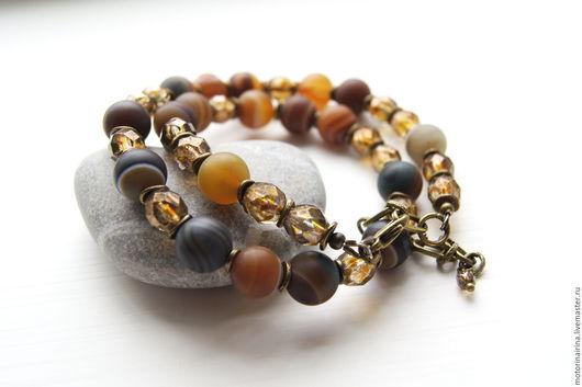 Чокер,женский чокер,короткие бусы,бусы из натуральных камней, бусы из агата.