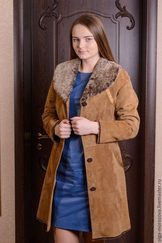 Верхняя одежда ручной работы. Ярмарка Мастеров - ручная работа. Купить Пальто из мехового велюра. Handmade. Оранжевый, мех