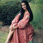 Одежда handmade. Livemaster - original item Floor-length linen dress with hand embroidery