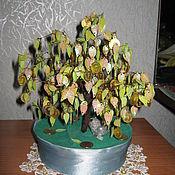 Цветы и флористика ручной работы. Ярмарка Мастеров - ручная работа Денежное дерево и цветы (две розы и тюльпан) сплетённая бисером. Handmade.