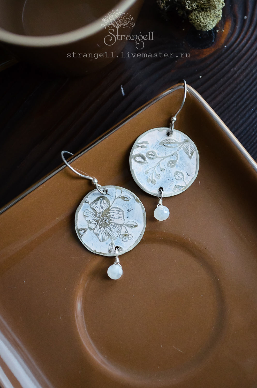Silver earrings with moonstone (adular), Boho earrings round White, Earrings, Ulan-Ude,  Фото №1