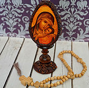 Eggs handmade. Livemaster - original item A large wooden Easter egg with the icon of the Mother of God Kasperovskaya. Handmade.