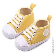 Материалы для творчества ручной работы. Ярмарка Мастеров - ручная работа 0053 Обувь для кукол для реборнов кеды желтые. Handmade.