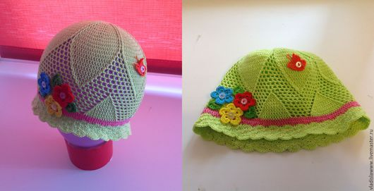 """Шляпы ручной работы. Ярмарка Мастеров - ручная работа. Купить Шляпка """"Нежность"""". Handmade. Салатовый, панамка для девочки, панамка крючком"""
