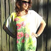 """Одежда handmade. Livemaster - original item Авторская блуза-туника """"Маки"""" - батик. Handmade."""