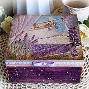 """Для дома и интерьера ручной работы. Ярмарка Мастеров - ручная работа Шкатулка для чайных пакетиков """" French lavender fields""""/Прованс. Handmade."""