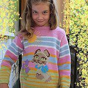 """Работы для детей, ручной работы. Ярмарка Мастеров - ручная работа Джемпер для девочки """"Кошачья радость"""". Handmade."""
