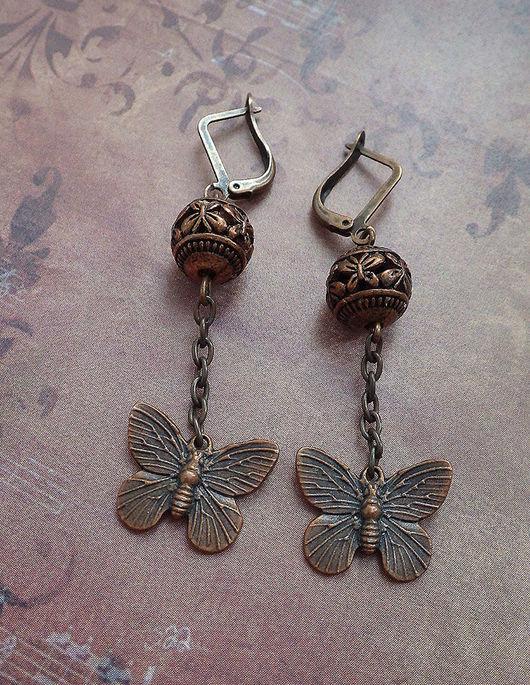 """Серьги ручной работы. Ярмарка Мастеров - ручная работа. Купить серьги медные """"Порхание бабочки"""". Handmade. Бабочка, бабочка серьги"""