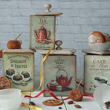 Посуда ручной работы. Ярмарка Мастеров - ручная работа Короб для хранения Teas & Coffees . Короб для кухни декупаж. Handmade.