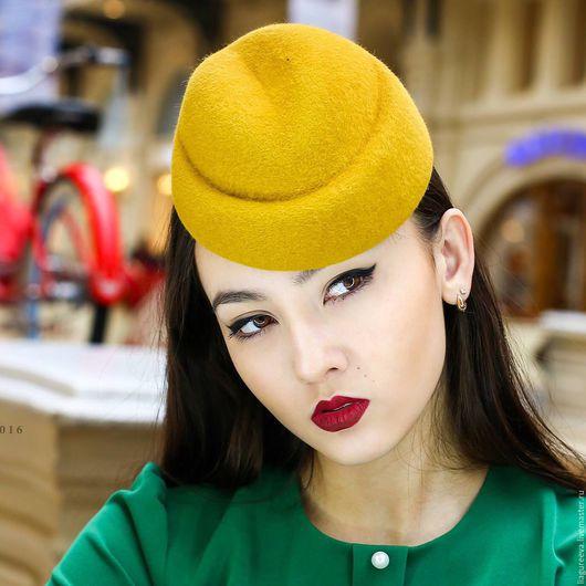Шляпы ручной работы. Ярмарка Мастеров - ручная работа. Купить Шляпка из велюра. Handmade. Оранжевый, горчичный цвет, фетровая шляпа