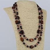 Украшения handmade. Livemaster - original item Necklace two-row of natural stones agate, Jasper, tiger`s eye. Handmade.