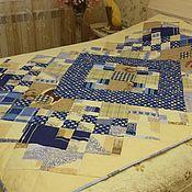 """Для дома и интерьера ручной работы. Ярмарка Мастеров - ручная работа Лоскутное одеяло """"Голубой калейдоскоп"""". Handmade."""