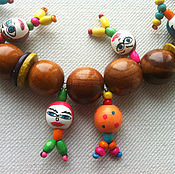"Украшения handmade. Livemaster - original item Wooden necklace ""Happy radish"". Handmade."