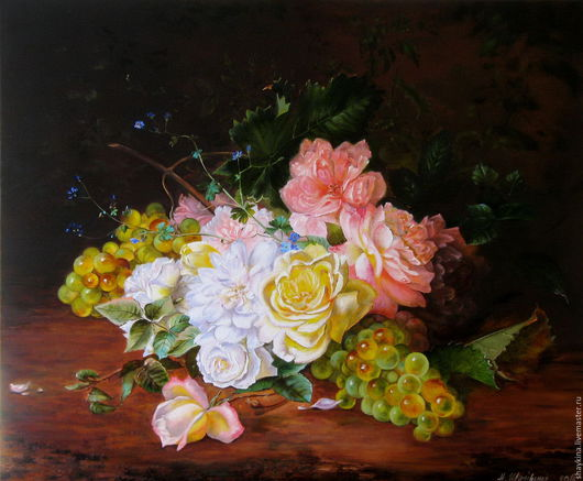 Картины цветов ручной работы. Ярмарка Мастеров - ручная работа. Купить Картина маслом. Розы и виноград. Handmade. Картина маслом