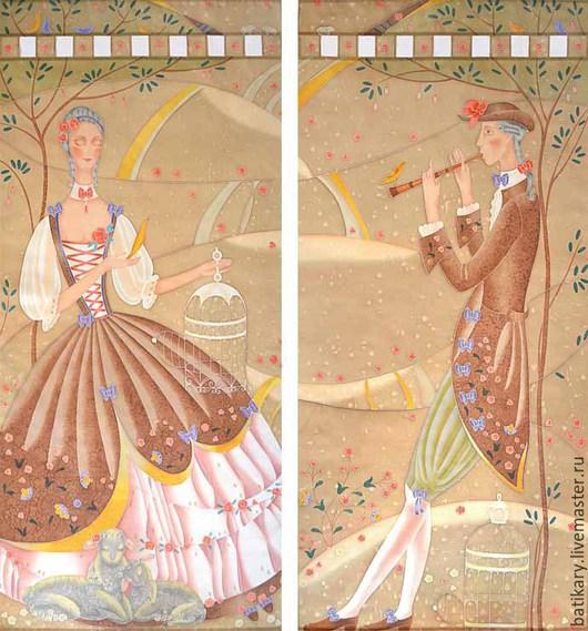 Текстиль, ковры ручной работы. Ярмарка Мастеров - ручная работа. Купить Шторы-картины с ручной росписью Пастораль в коричневой гамме. Handmade.