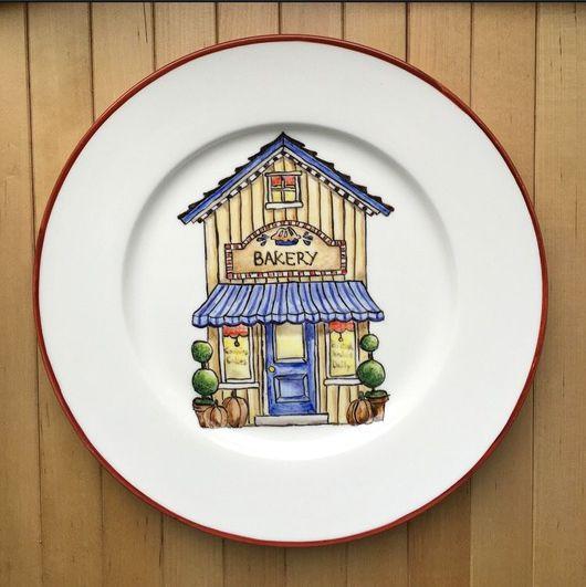 """Тарелки ручной работы. Ярмарка Мастеров - ручная работа. Купить Фарфоровая тарелка """"Пекарня"""". Handmade. Пекарня, домик, роспись по фарфору"""
