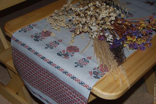 """Текстиль, ковры ручной работы. Ярмарка Мастеров - ручная работа. Купить Дорожка льняная """"Традиционная"""". Handmade. Серый, орнамерт"""
