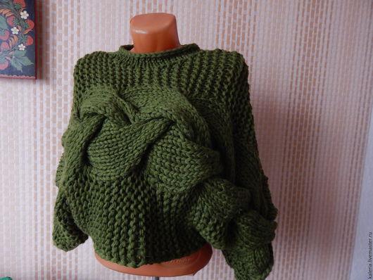 Кофты и свитера ручной работы. Ярмарка Мастеров - ручная работа. Купить джемпер бутылочного цвета. Handmade. Тёмно-зелёный
